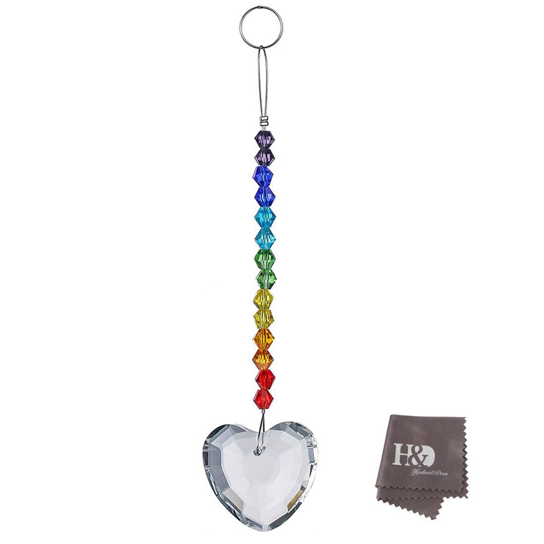 H& D 38mm Rainbow Herz Kristalle Kronleuchter Prismen Perlen Regenbogen Chakra Sonnenfänger LTD ADE1709200-3*qita