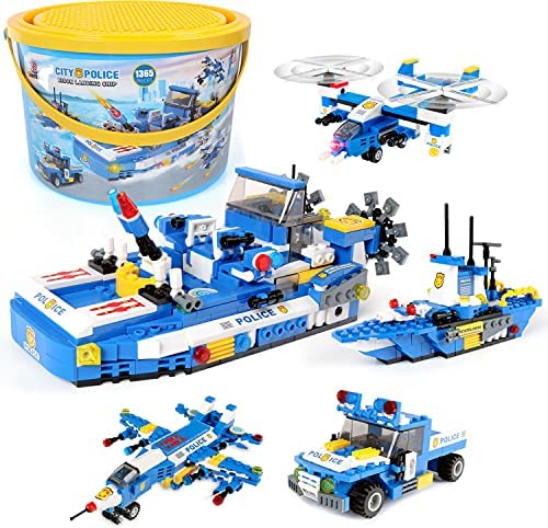1324pcs Military Landing Craft Building Blocks , Exercise N Play Construction Bricks War Set Toy with Helicopter Car Truck for Boys Girls 6-12
