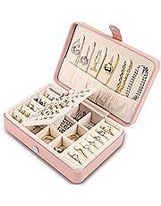 Deyooxi Sieradenkistje, juwelenkistje voor dames, PU-leer, klein juwelenkistje, sieradenbox, fluwelen voering, opbergkoffer voor oorbellen, armbanden, ringen en halskettingen, decoratief sieradenkistje