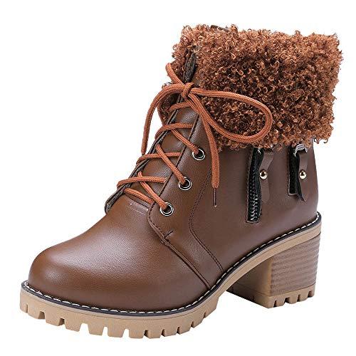 Tinta Tenere Cerniera stivali Da Peluche Retrò Con Brown Punta Donna Di Caldo Rotonda Tacco Stivali Spesso Unita Inverno RYxqPx