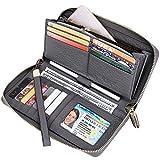 Itslife Women RFID Blocking Wallet Leather Zip Around Phone Clutch Large Travel Purse Wristlet (Grey)