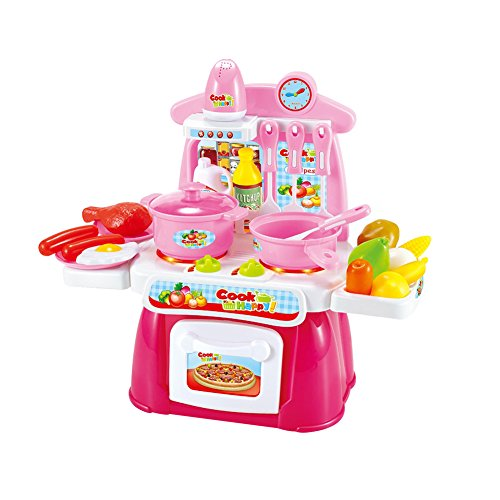 HsgbvictS Pretend Play 22Pcs Pretend Playset Mini Kitchen Cookware Food with Sound Light Kid's Toy Compact Design, Simulation Kitchen Cookware, with Sound & Light - Pink