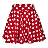 Women's Basic Versatile Stretchy Flared Casual Mini Skater Skirt Soft Polka Dot Printed Street Skirt Summer Skirt(Red, M)