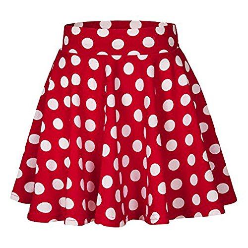Women's Basic Versatile Stretchy Flared Casual Mini Skater Skirt Soft Polka Dot Printed Street Skirt Summer Skirt(Red, M) by Threecows (Image #5)