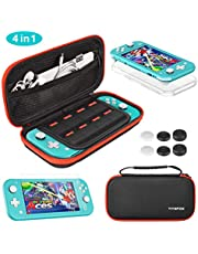 Vivefox Accessories Kit for Nintendo Switch Lite, 4-in-1 include Portable Travel Carry Case with 8 Game Cartridge, Clear TPU Cover Case, HD Tempered Screen Protector Bundle Pack for Switch Lite 2019