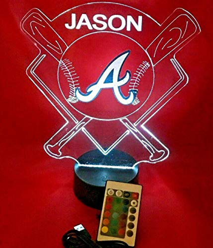 Atlanta Beautiful Handmade Personalized Braves MLB Baseball Light Up Night Light Lamp LED Table Lamp, Our Newest Feature - It's Wow, with Remote, 16 Color Options, Dimmer, Free Engraved, Great Gift