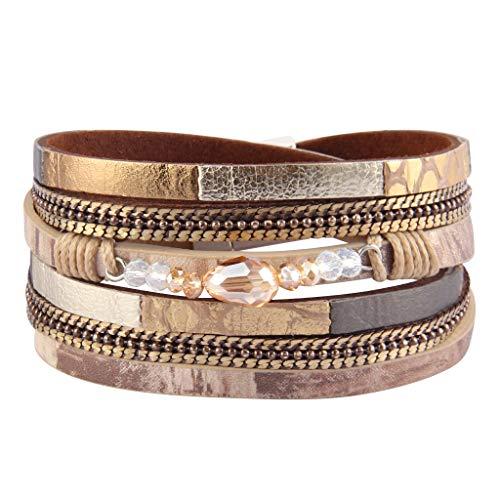 AZORA Womens Leather Wrap Bracelet Casual Crystal Cuff Bracelets Multilayer Braided Bangle Handmade Fashion Jewelry Gifts for Women, Teens Girls
