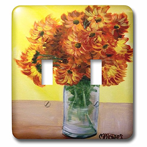 Melissa A. Torres Art Florals - A vase full of yellow and orange mums with yellow background - Light Switch Covers - double toggle switch (lsp_160377_2)