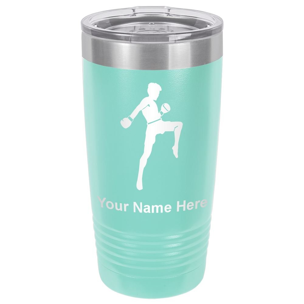 20oz Tumbler Mug, Muay Thai Fighter, Personalized Engraving Included (Teal) by SkunkWerkz