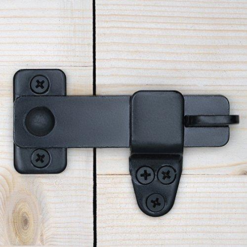 Nordstrand Sliding Barn Door Lock - Rustic Gate Latch for Cabinet Bar Closet Shed Cabin Garage - Black Wrought Cast Iron - Flip & Pull Hook Hardware Kit - Interior & Exterior (Sliding Cabinet Doors)