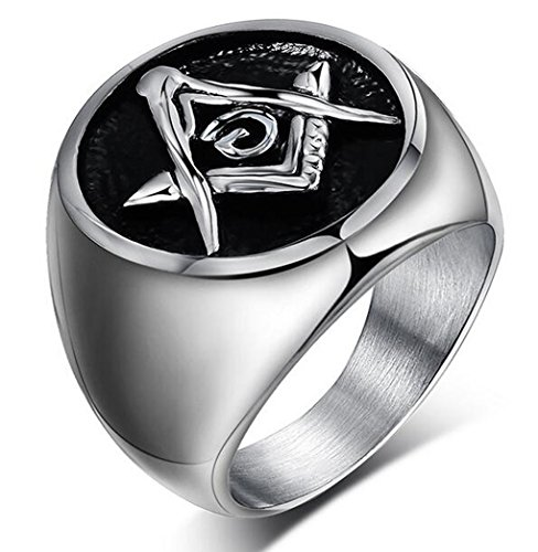 [Men's Vintage Freemason Masonic Symbol Stainless Steel Rings Black and Silver] (Pregnant Basketball Costume)