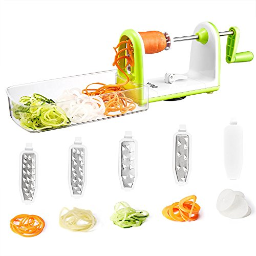 Spiralizer Vegetables Slicer, 5 Ultra-sharp Japanese 420-grade Hardened Stainless Steel Blades, Super Sucker Upgrade Design Detachable and Easy to Clean Rotating Food Dehydrator