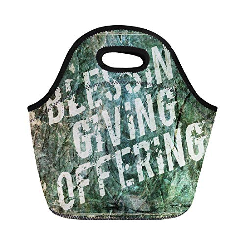 Semtomn Lunch Tote Bag Tithe Giving Offering Blessing Church Generous Charity Abundance Alms Reusable Neoprene Insulated Thermal Outdoor Picnic Lunchbox for Men Women