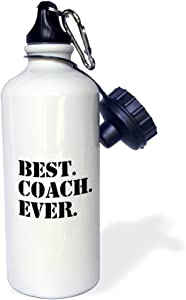 """3dRose """"Best Coach Ever-Gifts for Sports Coaches-Life Coaches-or other types of coaches-black text"""" Sports Water Bottle, 21 oz, White"""