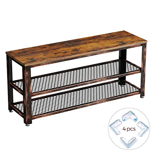 Rolanstar Rustic 3-Tier Shoe Bench, Wood Look Accent Entryway Shoe Rack with Corner Protectors, Storage Bench with Retro Metal Frame, for Living Room, Hallway SH001-D