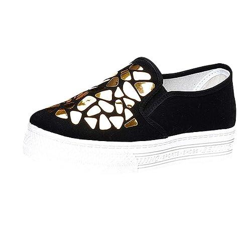 Zapatillas de Vestir Plataforma de Lona para Mujer Otoño Invierno 2018 Moda PAOLIAN Cómodos Zapatos de Loafer Lentejuelas Señora Casual Calzado Náuticos ...