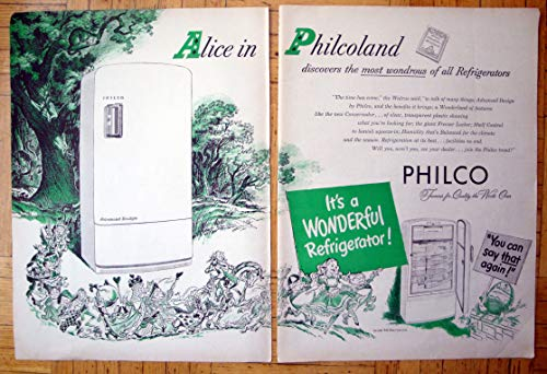 Appliance Ads Vintage (1948 Alice In Wonderland Philco Refrigerator-Original 2 Page 13.5 * 10.5 Magazine Ad)
