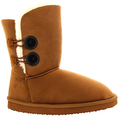 Womens Twin Button Short Classic Winter Rain Snow Boots Tan