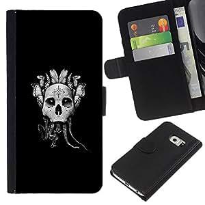 KLONGSHOP // Tirón de la caja Cartera de cuero con ranuras para tarjetas - Resumen Goth Skull Dreamcatcher - Samsung Galaxy S6 EDGE //