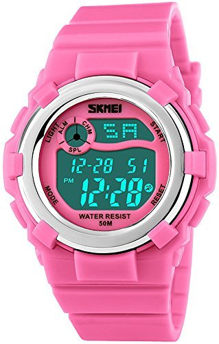 Fanmis Children's Outdoor Sports Multifunction Waterproof Digital Watch Military 12/24H Electronic Alarm Stopwatch Backlight 164FT Water Resistant Calendar Month Date Day Week Rubber Strap Watch Pink