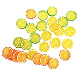 IETONE 30 Pieces Artificial Plastic Simulation Fake Lemon Slices Lifelike Decorative Fake Fruit-Mixed