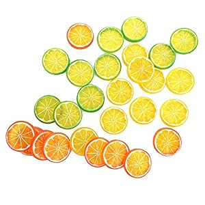 IETONE 30 Pieces Artificial Plastic Simulation Fake Lemon Slices Lifelike Decorative Fake Fruit 31