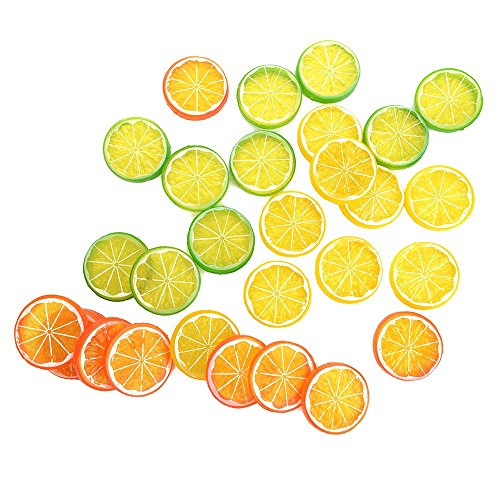 IETONE 30 Pieces Artificial Plastic Simulation Fake Lemon Slices Lifelike Decorative Fake Fruit-Mixed by IETONE