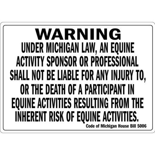 Warning Under Michigan Law An Equine Activity Osha Metal Aluminum Sign 18 inch x 24 inch custom Home Outdoor garadge Cave decor