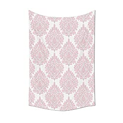 Damask Decor Collection Damask Pattern Royal Motif Baby Pink Floral Design Victorian Fashioned Home Decor Bedroom Living Room Dorm Wall Tapestry Pink White