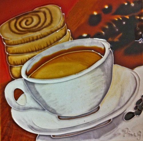 Continental Art Center BD-2139 8 by 8-Inch Coffe with a Cinnamon Bun Ceramic Art Tile