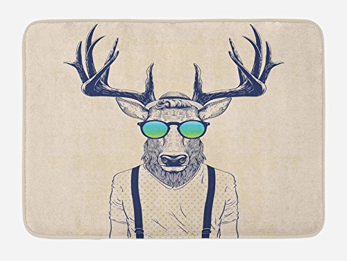 Ambesonne Antlers Bath Mat by, Illustration of Deer Dressed Up Like Cool Hipster Fashion Creative Fun Animal Art, Plush Bathroom Decor Mat with Non Slip Backing, 29.5 W X 17.5 W Inches, Beige Black