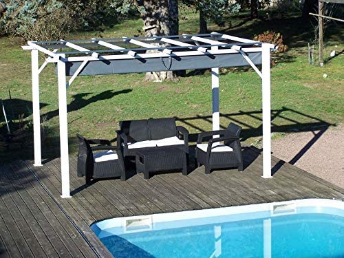 HABRITA - Pérgola 100% de Aluminio, Color Gris, 12 m2, Estructura Blanca Perla: Amazon.es: Jardín