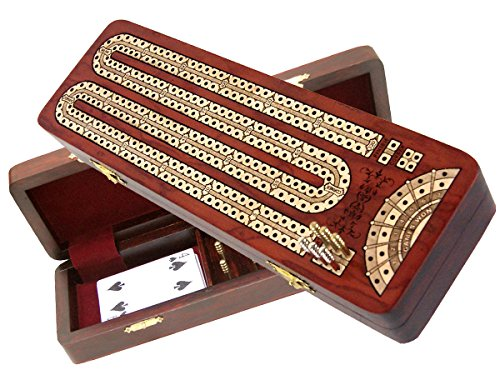 House of Cribbage - Continuous Cribbage Board inlaid with Bloodwood / Maple : 2 Tracks with place to mark won games