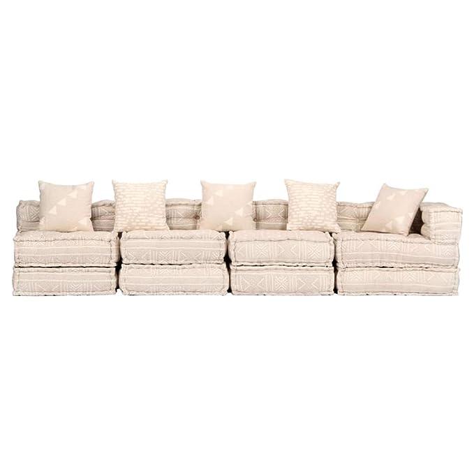 vidaXL Sofš¢ cama modular de 4 plazas de tela beige: Amazon ...