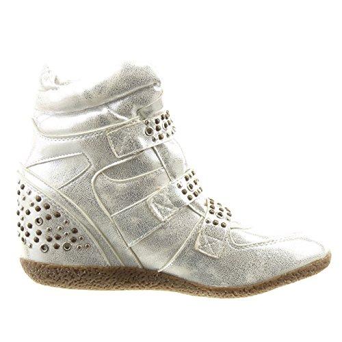 Sopily - Scarpe da Moda Sneaker Zeppa alla caviglia donna borchiati strass Tacco zeppa piattaforma 8 CM - soletta sintetico - Khaki