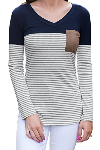 Inflower Wq018 Shirt Chemisiers Femme Shirts Casual Ray Manches Taille Longues t Grande Chauve Blouse Manches Marine Coton Shirts Automne Bleu Souris T Hors T Shirts paule Tops T 4wrwEf