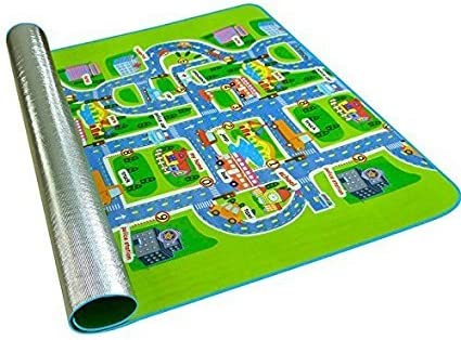 Kids Rug with Roads Kids Rug Play mat City Street Map Children Learning Carpet Play Carpet Kids Rugs Boy Girl Nursery Bedroom Playroom Classrooms Play Mat Children s Area Rug 63X52X0.2inch