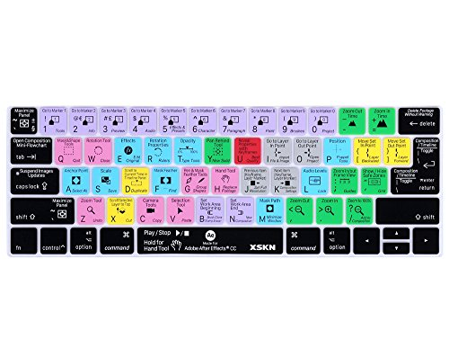 XSKN Adobe After Effects English Shortcut Silicone Keyboard Skin Cover for 2016 Touch Bar MacBook Pro 13 (A1706) & MacBook Pro 15 (A1707), US EU Layout