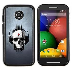 For Motorola Moto E Case , Cráneo divertido del golpe del jugador- Diseño Patrón Teléfono Caso Cubierta Case Bumper Duro Protección Case Cover Funda