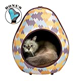 Cave Pod Cat Bed for Indoor Cats and an Ideal Ferret and Puppy Bed for Hideaway by IBIYAYA (ZigZag)
