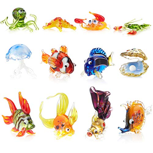 Aquarium Decorations Glass Figurines - Handmade Glass Blowing Colorful Water Animal Figure Fish Tank Ornaments (Multi, 12)