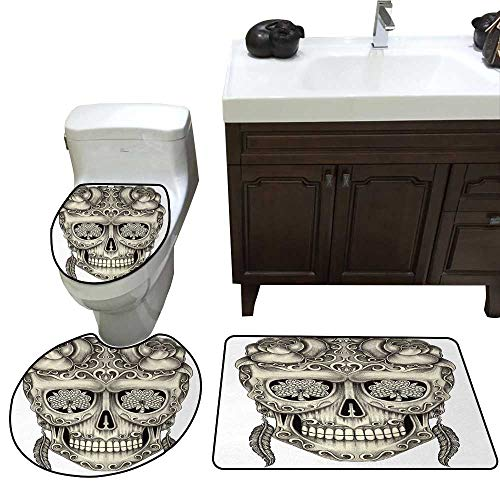 John Taylor Day of The Dead Bath Toilet mat Set Spanish Sugar Skull with Roses Dragonfly Eyes Feather and Earrings Artwork Toilet Rug and mat Set Grey Ivory