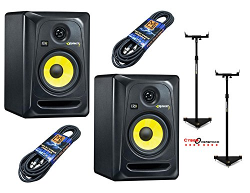 2 KRK RP5G3-NA With Pair Of Samson MS100 Monitor Stands and 2 Mr. DJ 25ft XLR to XLR cables by KRK, Samson, Mr. DJ