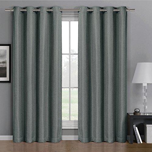 Gulfport Faux Linen Blackout Weave Grommet Window Curtains (Single) 1 Panel 52x84
