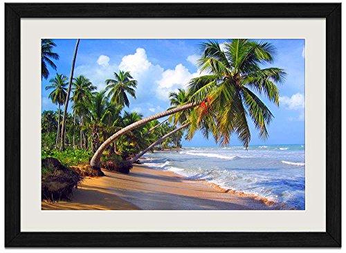 Beach With Palm Trees - Art Print Wall Black Wood Grain Framed - Photo Mint Framed