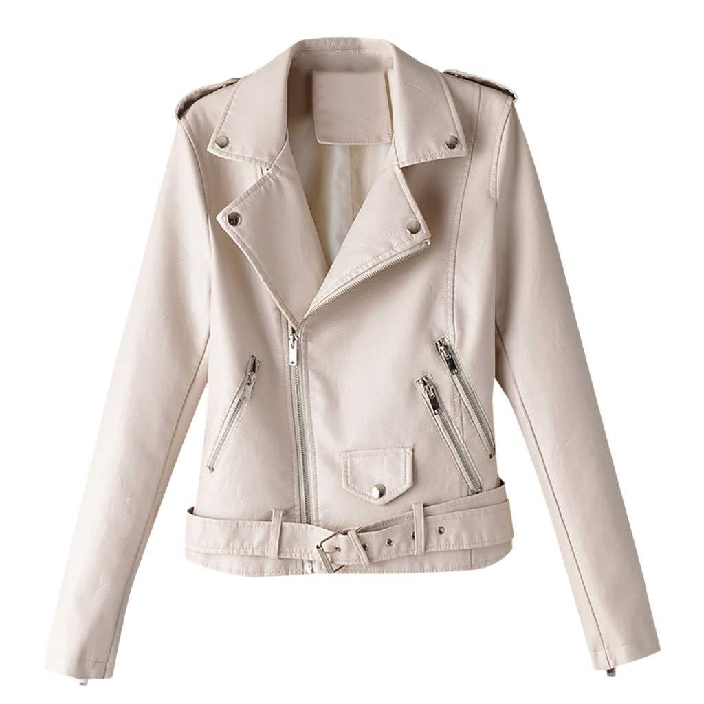 〓COOlCCI〓Women's Leather & Faux Leather Jackets & Coats,Zipper Moto Biker Short Coat Jacket with Pockets Windbreaker Tops White by COOlCCI_Womens Clothing