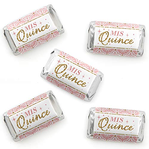 Mis Quince Anos - Mini Candy Bar Wrapper Stickers - Quinceanera Sweet 15 Birthday Party Small Favors - 40 Count