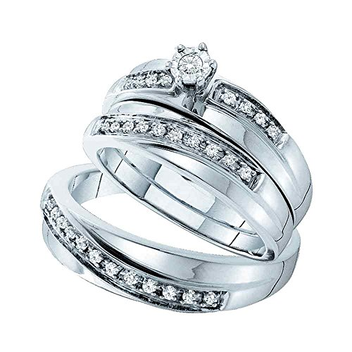 (Sizes - L = 9, M = 11 - 14k White Gold Mens and Ladies Couple His & Hers Trio 3 Three Ring Bridal Matching Engagement Wedding Ring Band Set - Round Diamonds - Solitaire Center Setting w/ Channel Set Side Stones (1/4 cttw) - Please use drop down menu to select your desired ring sizes)