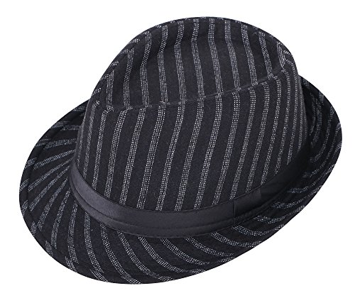 - Simplicity Unisex Structured Gangster Trilby Felt Fedora Hat, Black 4 Strips