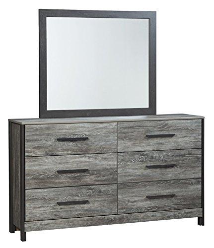 Ashley Cazenfeld Six Drawer Dresser Mirror In Black Gray